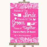 Bright Pink Burlap & Lace Friends Of The Bride Groom Seating Wedding Sign