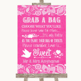 Bright Pink Burlap & Lace Grab A Bag Candy Buffet Cart Sweets Wedding Sign