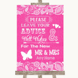 Bright Pink Burlap & Lace Guestbook Advice & Wishes Mr & Mrs Wedding Sign