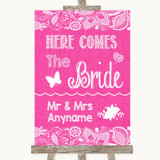 Bright Pink Burlap & Lace Here Comes Bride Aisle Sign Customised Wedding Sign