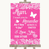 Bright Pink Burlap & Lace I Love You Message For Mum Customised Wedding Sign
