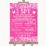 Bright Pink Burlap & Lace I Spy Disposable Camera Customised Wedding Sign