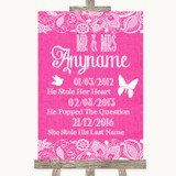 Bright Pink Burlap & Lace Important Special Dates Customised Wedding Sign