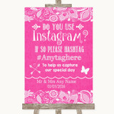 Bright Pink Burlap & Lace Instagram Photo Sharing Customised Wedding Sign