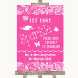 Bright Pink Burlap & Lace Let Love Sparkle Sparkler Send Off Wedding Sign