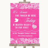 Bright Pink Burlap & Lace Loved Ones In Heaven Customised Wedding Sign