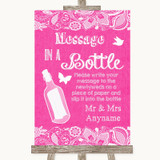 Bright Pink Burlap & Lace Message In A Bottle Customised Wedding Sign