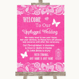 Bright Pink Burlap & Lace No Phone Camera Unplugged Customised Wedding Sign