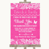 Bright Pink Burlap & Lace Photo Guestbook Friends & Family Wedding Sign
