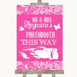 Bright Pink Burlap & Lace Photobooth This Way Left Customised Wedding Sign