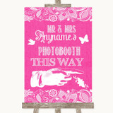 Bright Pink Burlap & Lace Photobooth This Way Right Customised Wedding Sign