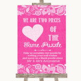 Bright Pink Burlap & Lace Puzzle Piece Guest Book Customised Wedding Sign