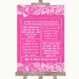 Bright Pink Burlap & Lace Romantic Vows Customised Wedding Sign