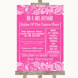 Bright Pink Burlap & Lace Rules Of The Dance Floor Customised Wedding Sign