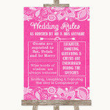 Bright Pink Burlap & Lace Rules Of The Wedding Customised Wedding Sign