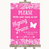 Bright Pink Burlap & Lace Signing Frame Guestbook Customised Wedding Sign