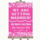 Bright Pink Burlap & Lace We Are Getting Married Customised Wedding Sign