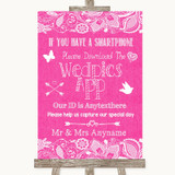 Bright Pink Burlap & Lace Wedpics App Photos Customised Wedding Sign