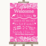 Bright Pink Burlap & Lace Welcome Order Of The Day Customised Wedding Sign