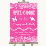 Bright Pink Burlap & Lace Welcome To Our Engagement Party Wedding Sign