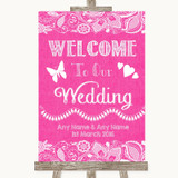 Bright Pink Burlap & Lace Welcome To Our Wedding Customised Wedding Sign
