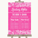 Bright Pink Burlap & Lace Who's Who Leading Roles Customised Wedding Sign