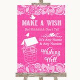 Bright Pink Burlap & Lace Wishing Well Message Customised Wedding Sign