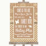 Brown Winter All Family No Seating Plan Customised Wedding Sign