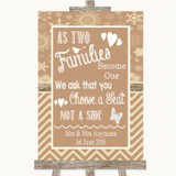 Brown Winter As Families Become One Seating Plan Customised Wedding Sign