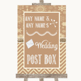 Brown Winter Card Post Box Customised Wedding Sign