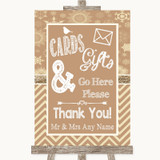 Brown Winter Cards & Gifts Table Customised Wedding Sign