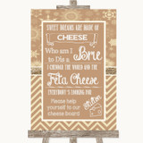Brown Winter Cheese Board Song Customised Wedding Sign