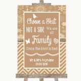 Brown Winter Choose A Seat We Are All Family Customised Wedding Sign