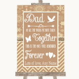 Brown Winter Dad Walk Down The Aisle Customised Wedding Sign