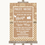 Brown Winter Don't Post Photos Facebook Customised Wedding Sign