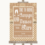 Brown Winter Drink Champagne Dance Stars Customised Wedding Sign