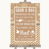 Brown Winter Grab A Bag Candy Buffet Cart Sweets Customised Wedding Sign