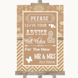 Brown Winter Guestbook Advice & Wishes Mr & Mrs Customised Wedding Sign