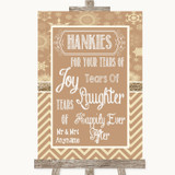 Brown Winter Hankies And Tissues Customised Wedding Sign