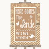 Brown Winter Here Comes Bride Aisle Sign Customised Wedding Sign