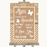 Brown Winter I Love You Message For Mum Customised Wedding Sign