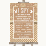 Brown Winter I Spy Disposable Camera Customised Wedding Sign