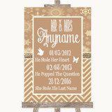Brown Winter Important Special Dates Customised Wedding Sign