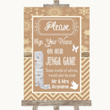 Brown Winter Jenga Guest Book Customised Wedding Sign