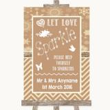 Brown Winter Let Love Sparkle Sparkler Send Off Customised Wedding Sign