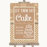 Brown Winter Let Them Eat Cake Customised Wedding Sign