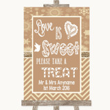 Brown Winter Love Is Sweet Take A Treat Candy Buffet Customised Wedding Sign