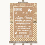 Brown Winter No Phone Camera Unplugged Customised Wedding Sign