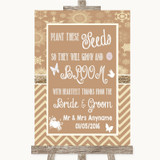 Brown Winter Plant Seeds Favours Customised Wedding Sign