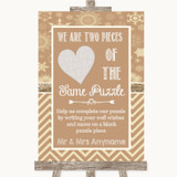 Brown Winter Puzzle Piece Guest Book Customised Wedding Sign